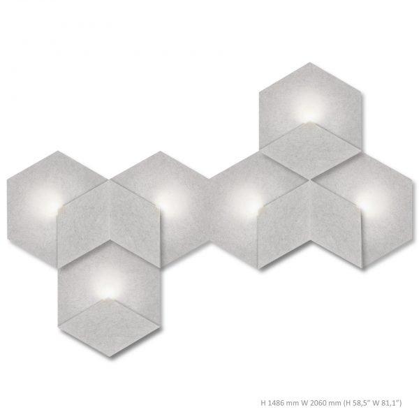 Siinne Heksagon valoelementti kpl akustiikkapaneelit vh