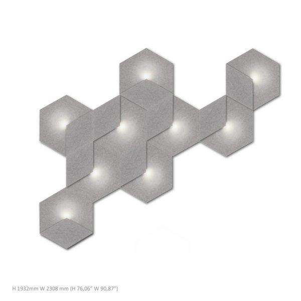 Siinne Heksagon valoelementti kpl akustiikkapaneelit h