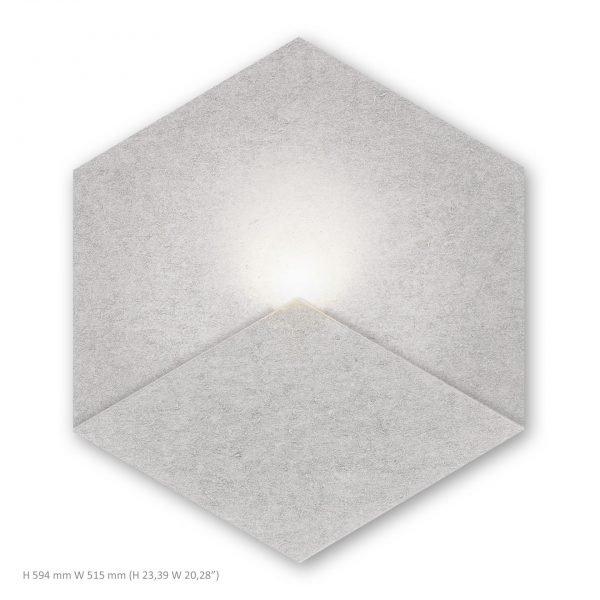 Siinne Heksagon valoelementti akustiikkapaneelit vaaleanharmaa
