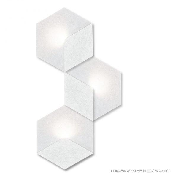 Siinne Heksagon valoelementti akustiikkapaneelit valkoinen